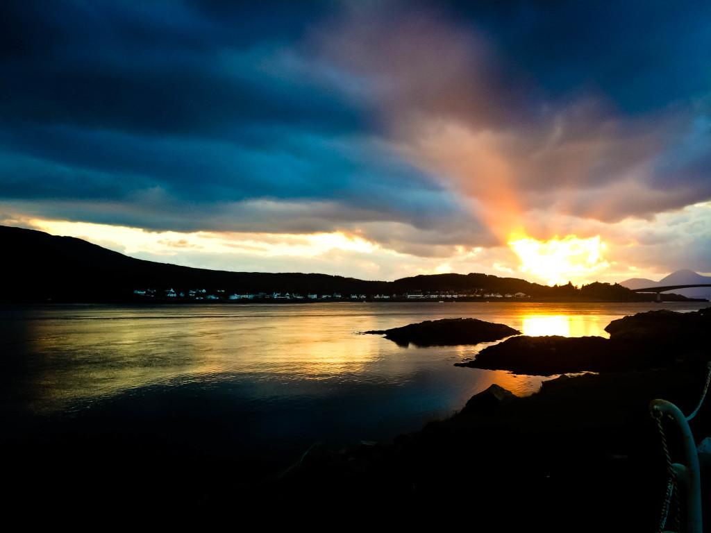 Sunset across from Isle of Skye